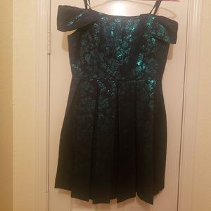 Metallic green and black pleated dress